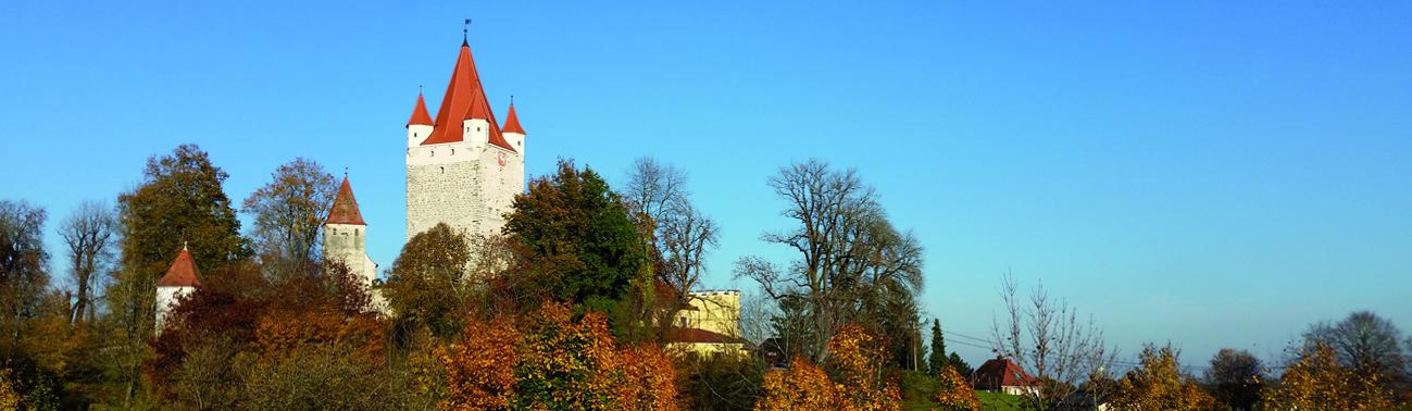 Burg zwischen Herbstbäumen, Foto: Schöll